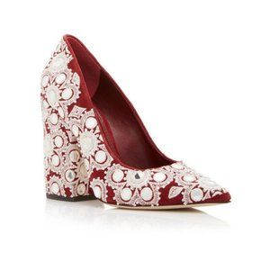 TORY BURCH Francesa Embroidered Red Suede Pumps